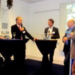 Die Diskussionsrunde: (v.l.n.r.) Florian Dobner, Albert Herresthal, Dr. Gregor Dasbach, Minister Winfried Hermann und Moderator Dr. Christian Muschwitz (Foto: MVI)